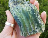 Green Chrome Tremolite- asbestos, nephrite, green mineral crystal specimen from Afghanistan