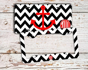 Monogram anchor, Gift for teen girls, Personalized license plate or frame, Chevron car tag, Anchor bicycle license plate, Red black (1408)