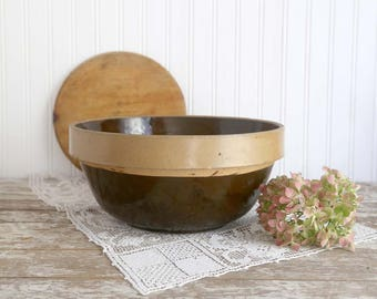Vintage Large Brown Stoneware Mixing Bowl, Farmhouse Mixing Bowl, Salt Glazed Mixing Bowl, Rustic Kitchen Decor, Rustic Farmhouse Decor