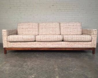 Mid-Century Modern Sofa / Couch With Walnut Base - Superb Condition - SHIPPING NOT INCLUDED
