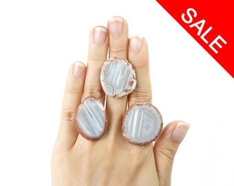 ON SALE / Big Agate Stone Slice Ring, Natural Stone Statement Ring, Striped Agate Jewelry