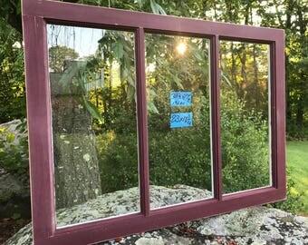 38-1/2 x 27-1/2 Vintage Window sash old DOOR TOP 3 pane  from 1960s