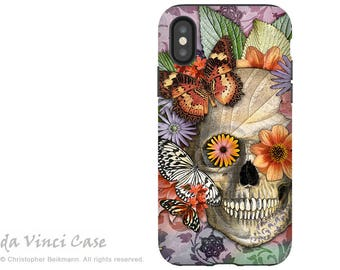 Butterfly Sugar Skull - Dia De Los Muertos iPhone X Tough Case - Dual Layer Protective Case for iPhone 10 - Butterfly Botaniskull