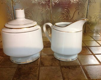 Vintage Garden China Sugar Bowl W/ Lid And Creamer White Gold Gilt Rings
