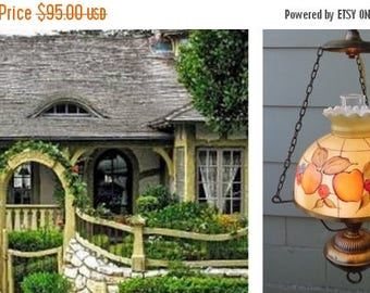 ON SALE Vintage, Cottage Chic, Hanging, Light Fixture, Fruit, Hurricane Lamp, Kitchen Lighting, Dining Room, Chandelier, Gone With The Wind