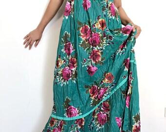 Sweet Rose....Green  Maxi Beautiful  cotton Dress/Summer Dress/Party Dress