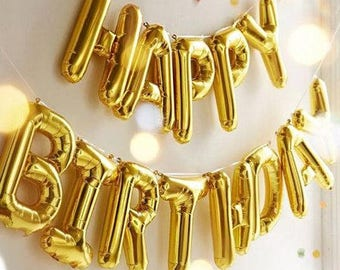 Happy Birthday Letter Balloons,Happy Birthday balloon banner,Happy Bday balloons,Birthday Decorations,Gold Letter Balloons,