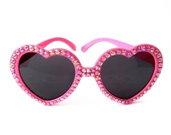 FLAMINGO Pink Heart Sunglasses, Heart Glasses, Kawaii Sunglasses, Cute Sunglasses, Womens Sunglasses, Pink Sunglasses, Sparkly Sunglasses