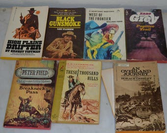 Collection of 7 Western Novels Vintage Paperback Books