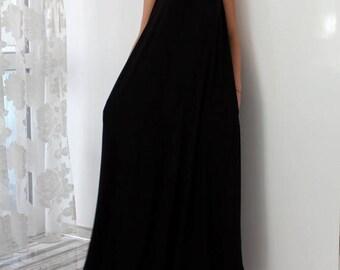 SALE ON 20 % OFF Black Sleeveless Maxi Dress with Pockets, Plus Size Dress, Cotton Knit Summer Dress, Plus Size Clothing, Sizes S , M , L