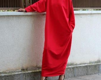 SALE ON 20 % OFF Red dress/ Long Dress/ Maxi Dress/ Long sleeve dress/ Maxi dress with sleeves/ Plus size dress