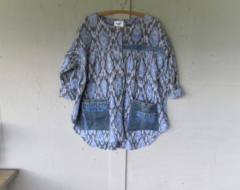 upcycled shirt romantic clothing smock recycled denim Lagenlook top X L 1 X Bohemian fun clothes Boho loose fit Jacket LillieNoraDryGoods