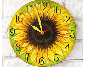 Sunflower Wall Clock Home Decor, wall clocks handmade Custom