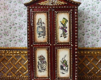 "Wardrobe  ""Alice in Wonderland"". Сupboard. Design Handmade.  For doll House. 1:12 Scale. TO ORDER."