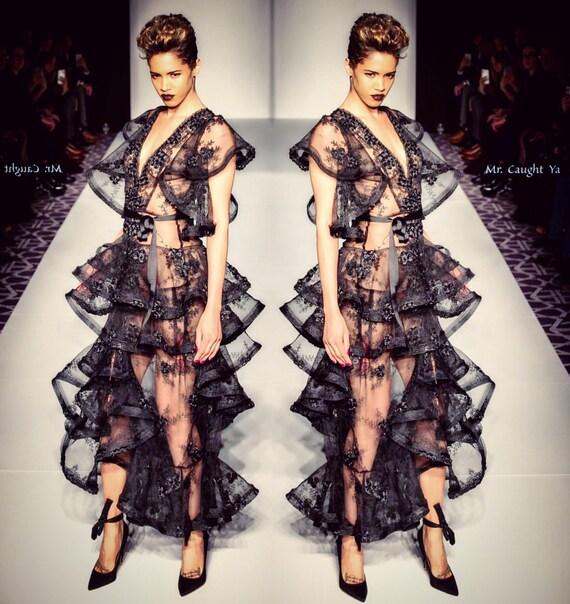 Black lace ruffled dress.