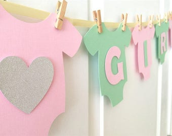"Baby One-Piece Bodysuit ""BABY GIRL"" Baby Shower Banner: Blush Pink and Green Baby Girl Shower Decoration"