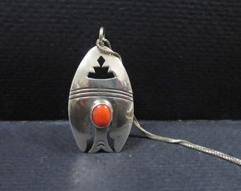 Modernist coral and silver Navajo hallmarked pendant