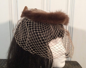 1950's Fur Halo Hat with Veil
