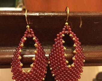 Wine and Gold Russian Leaf Earrings