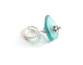 Teal Beach Glass Charm | Sea Glass Charm | Genuine Sea Glass Jewelry | Sterling Silver Sea Glass Slice