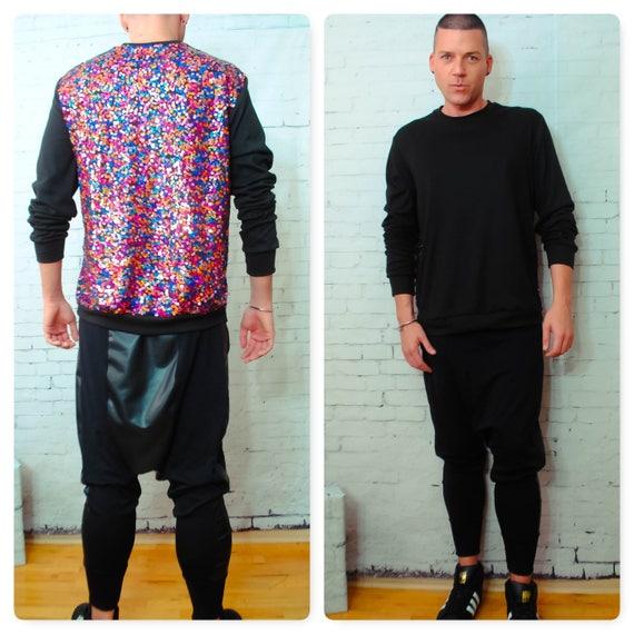 Multi Color Sequin  Back Sweatshirt W/ Black Front Empire Holiday