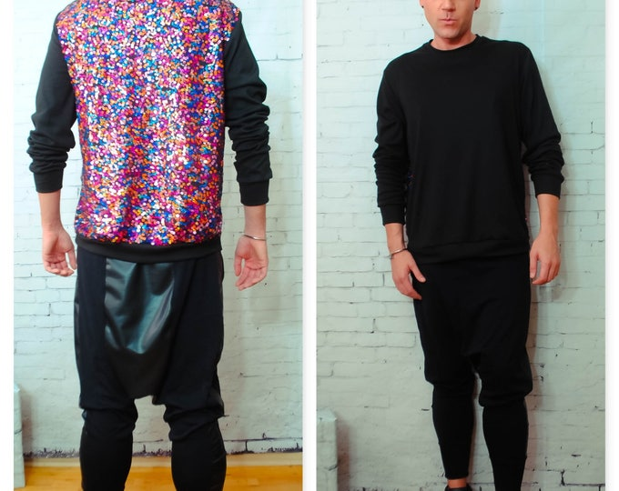 Multi Color Sequin  Back Sweatshirt W/ Black Front Empire Holiday