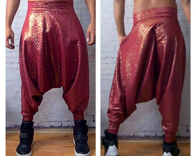 Metallic Brushed Red Quilted  Stand-Out Unisex Harmem Y3 Inspired Harem Pant.