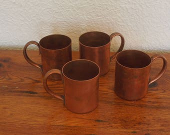 Vintage Copper Mugs Set of 4 Moscow Mule Solid Copper