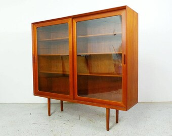 mid century modern teak large display hutch bookcase with glass doors by Falster