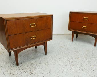 pair mid century modern walnut two drawer nightstands end tables with brass pulls