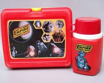 Vintage 1980 Star Wars Empire Strikes Back Plastic Lunchbox Complete with Thermos