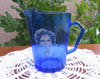Vintage HAZEL ATLAS Shirley Temple Cobalt Blue Cream Pitcher - Circa 30s