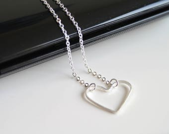 Heart silver necklace, white gold heart necklace, simple everyday jewelry