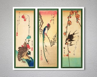 Birds and Flowers from Ando Hiroshige, Set of 3 prints Japanese Art- Poster Paper, Sticker or Canvas Print