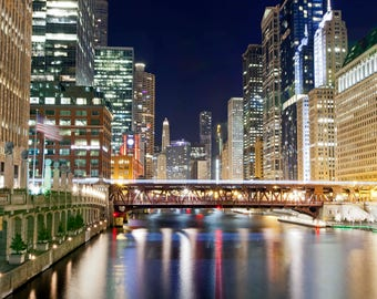 1433 Chicago River, Chicago Photography, Cityscape, Street Photography, River, Night Photography, Fine Art Print