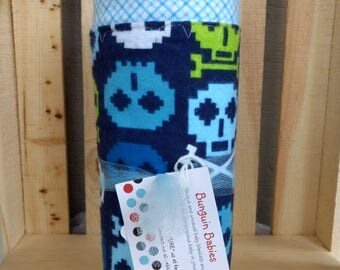 Blue Skulls Receiving Blanket