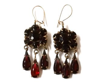 Bohemian Garnet Dangle Earrings