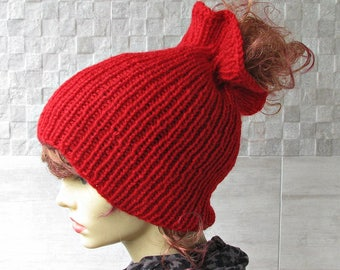 Dread Hat Dredlocks Accessories RED Dreadlock tube hat, dreadlock headband, Tam Hat wide dread wrap, Dreadband handmade