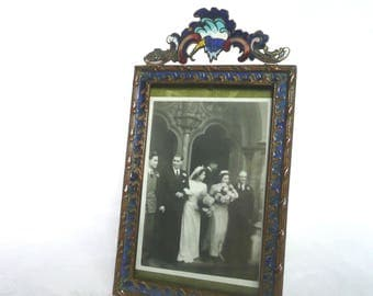 Art Nouveau cloisonne photo frame - French chempleve cloisonne enamel frame - antique enamel photograph frame - frame with watered silk