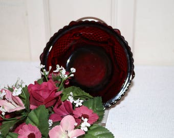 Avon 1876 Cape Cod Berry Bowl -  Ruby Red - Pressed Glass - Retired