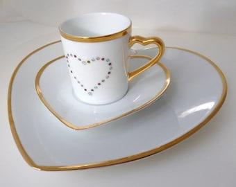 """Coffee and cake slice """"Swarovski heart"""""""
