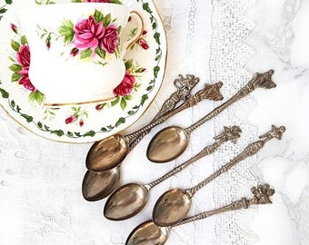 SALE Italian Teaspoons Set of 6 Silver Plated Demitasse Spoons Ornate Figural Spoons Montagnani Style Spoons Vintage Collectible Spoons