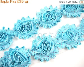 """Summer SALE 10% OFF 2.5"""" PRINTED Shabby Rose Trim -Turquoise Hot Pink Dots  - Printed Chiffon Trim - Hair Accessories Supplies"""
