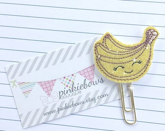 Yellow/Gold/Happy Banana/Sparkle Applique Paper Clip/Planner Clip/Bookmark/Journal Marker