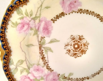 Antique French Porcelain Tidbit Plate, Pink Floral Motif, Cobalt Blue/Gold Scalloped Rim. Housewarming Gift, Get Well Gift, Valentine Gift