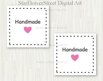 Handmade Tags hang tags handmade jewelry hang tags made square love made with love printable pink heart digital packaging