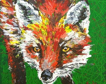"""Original painting on canvas """"Foxy"""",fox,animal,art,animal painting,wildlife,green and orange colours,colourful,textured artwork"""