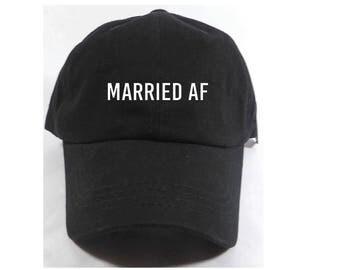 Married AF Embroidered Adjustable Dad Baseball Cap Twill 6 Panel Hat - Baseball Cap