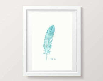 Blue Feather Artwork Watercolor Feather Painting Teal Wall Art Minimalist Home Decor Blue Living Room Baby Boy Decor Nursery Boy Room Mint