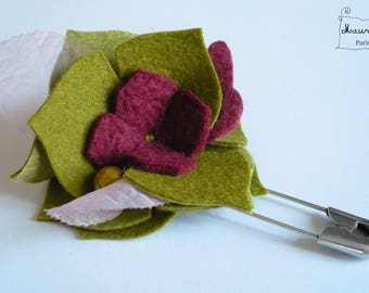 Garden green, pink and purple (OOAK) brooch